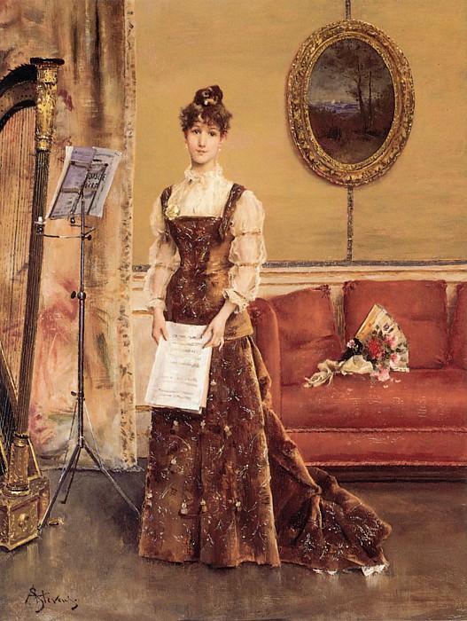 Stevens Le Femme a la Harpe. Alfred Stevens