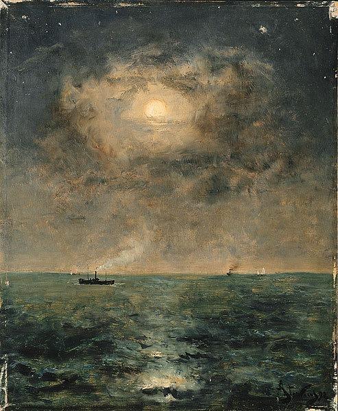 Stevens Alfred Moonlit seascape. Alfred Stevens