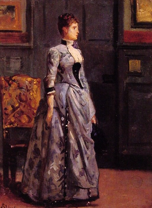 Portrait of a woman in blue. Alfred Stevens
