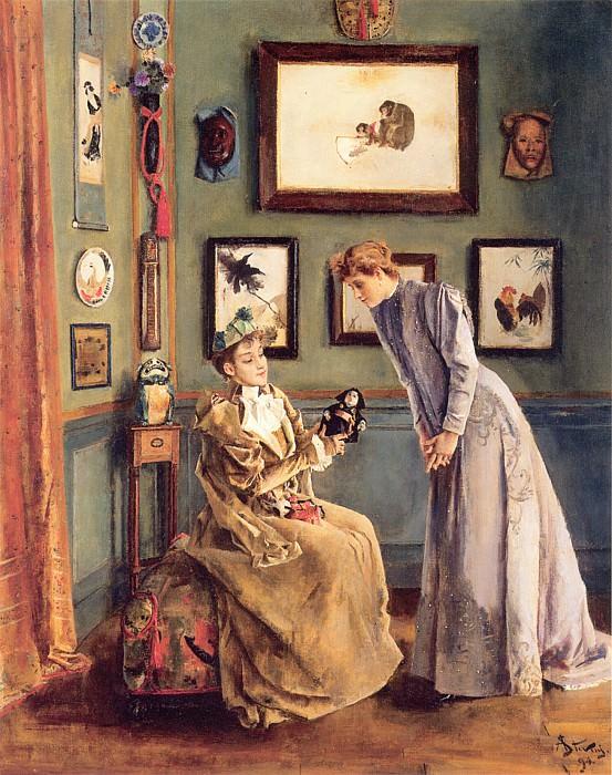 Stevens A Femme a la poupee japonaise. Alfred Stevens