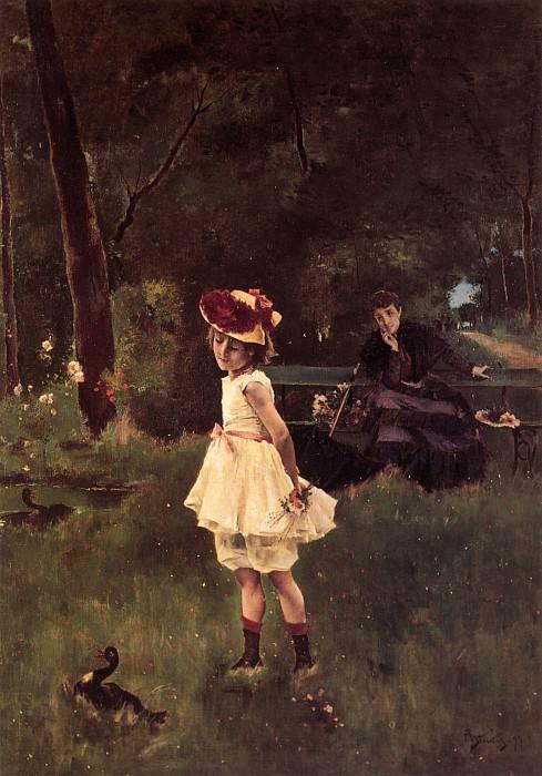 Stevens A La Fillette au Canard. Alfred Stevens