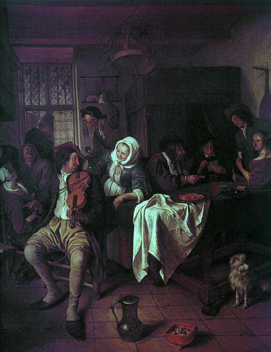 1665-68 Inn with Violinist & Card Players. Jan Havicksz Steen