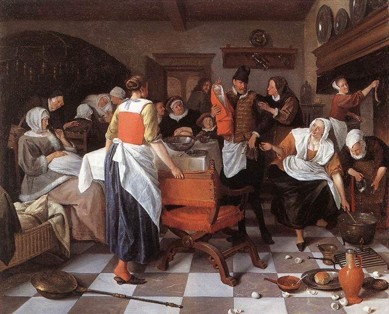 STEEN Jan Celebrating The Birth. Jan Havicksz Steen