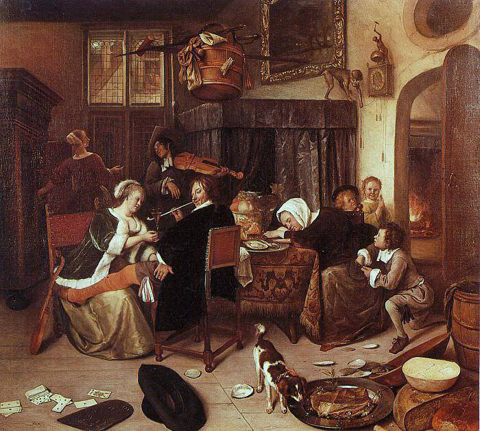 Steen The Dissolute Household, 1668, oil on canvas, Wellingt. Jan Havicksz Steen