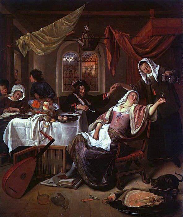 Steen The Dissolute Household, oil on canvas, Metropolitan M. Jan Havicksz Steen