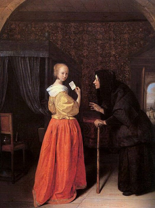 Steen Bathsheba Receiving Davids Letter, oil on panel, priv. Jan Havicksz Steen