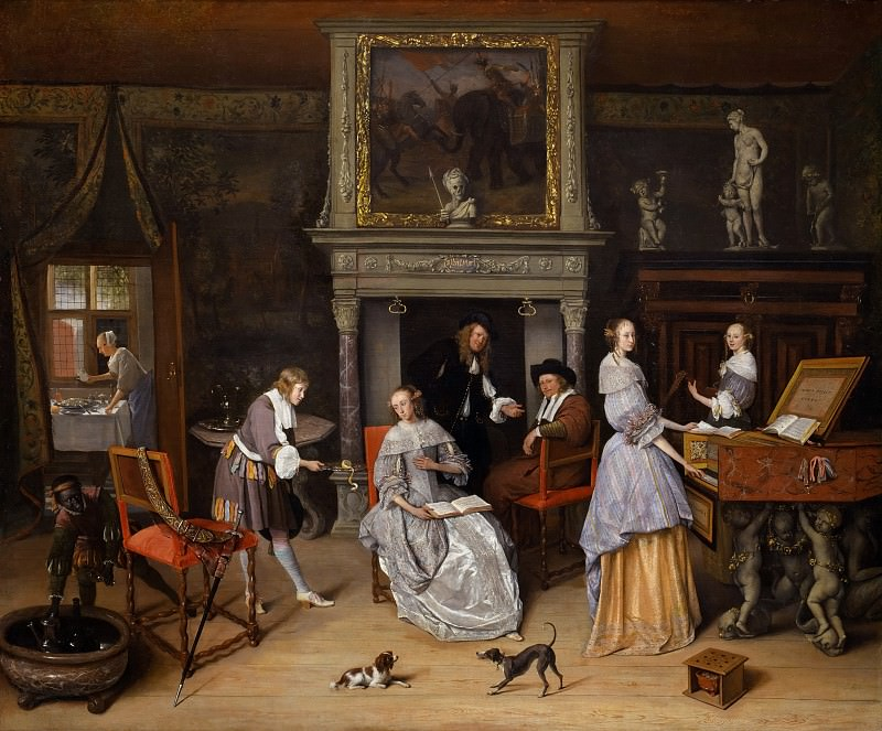 Fantasy Interior with Jan Steen and the Family of Gerrit Schouten. Jan Havicksz Steen