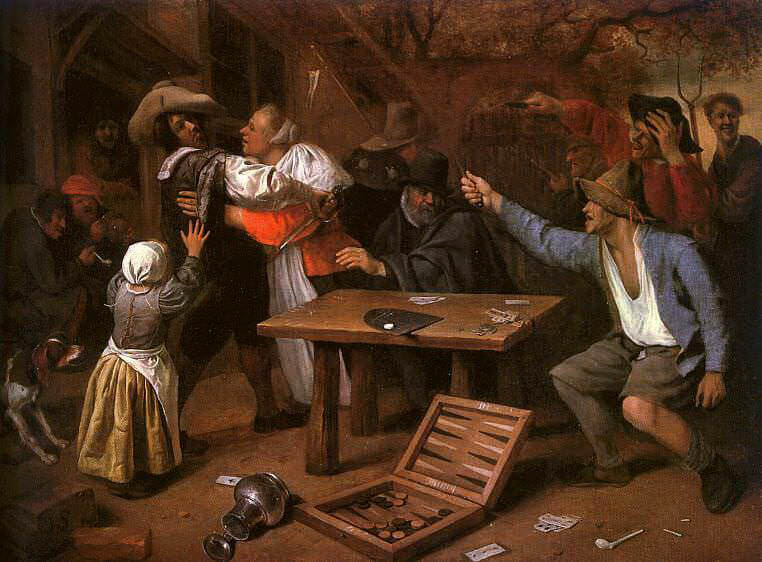 Steen Card Players Quarreling, 1664-65, oil on canvas, Gemal. Ян Стен