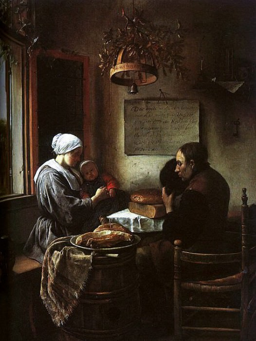 Steen Grace Before a Meal, 1660, oil on panel, Sudeley Castl. Ян Стен