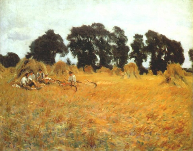 sargent reapers resting in a wheatfield c1888. A Sargent