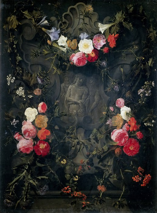 "Garland of Flowers with the ""Ecce Homo"". Daniel Seghers"