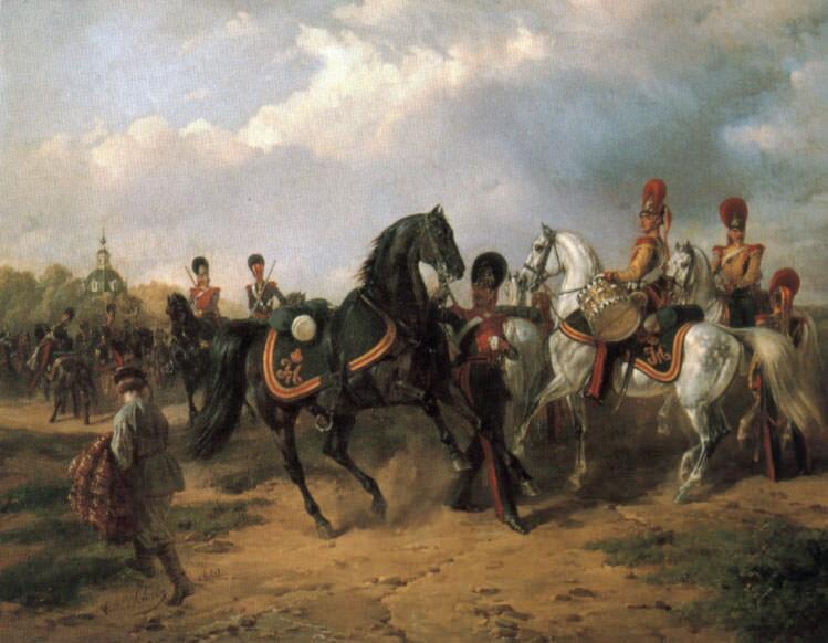 Begegnung Russischer Ulanen Und Dragoner 2. Karl Friedrich Schulz