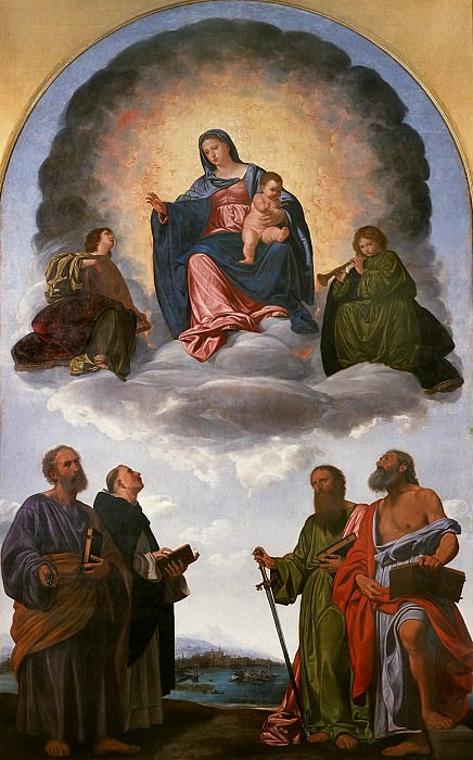 Madonna and Child in Glory, two Angels and Saints Peter, Dominic, Paul and Jerome. Giovanni Girolamo Savoldo