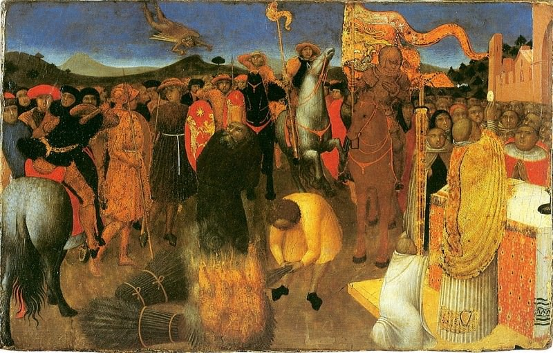 The Altar Of The Eucharist. The death of the heretic on the bonfire (Burning of the heretic). Sassetta (Stefano di Giovanni)