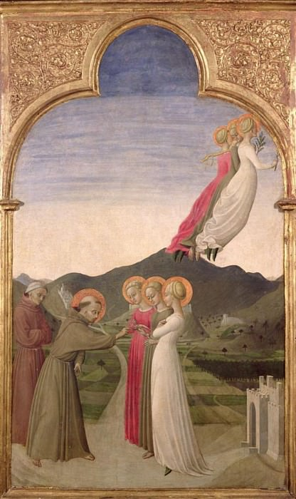 The Mystic Marriage of St. Francis with Chastity, Poverty and Obedience. Sassetta (Stefano di Giovanni)