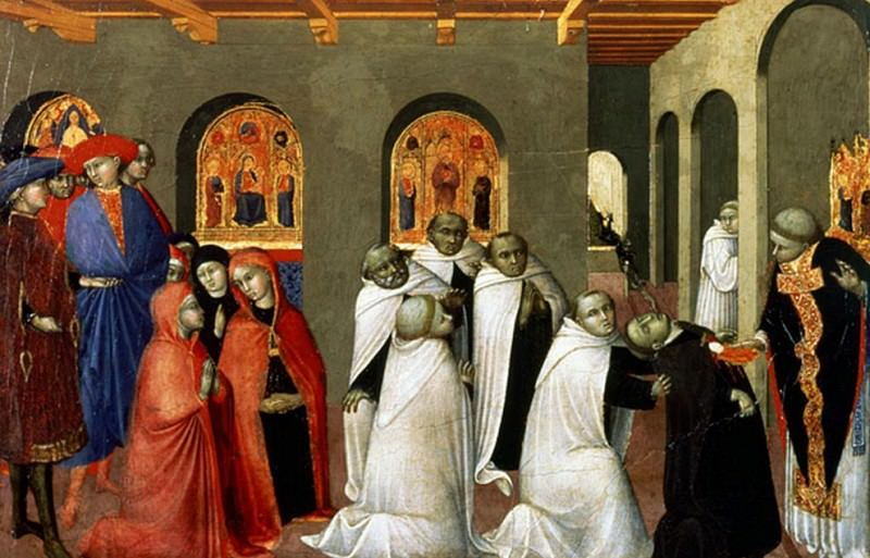 The Miracle of the Holy Sacrament, from the predella of the Altar of the Holy Eucharist. Sassetta (Stefano di Giovanni)
