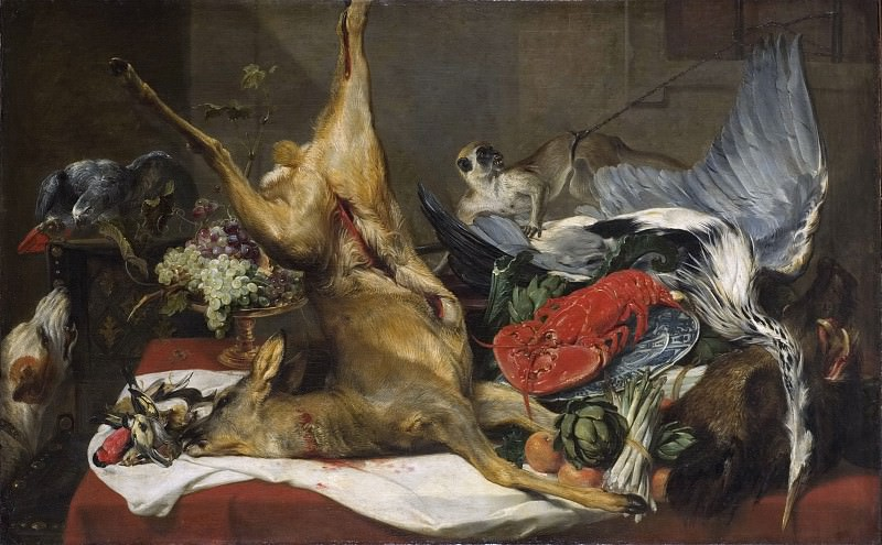 Still Life with Dead Game, a Monkey, a Parrot, and a Dog. Frans Snyders