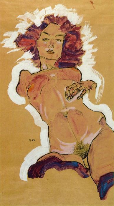 Schiele Female nude, 1910, Graphische Sammlung Albertina, Wi. Эгон Шиле