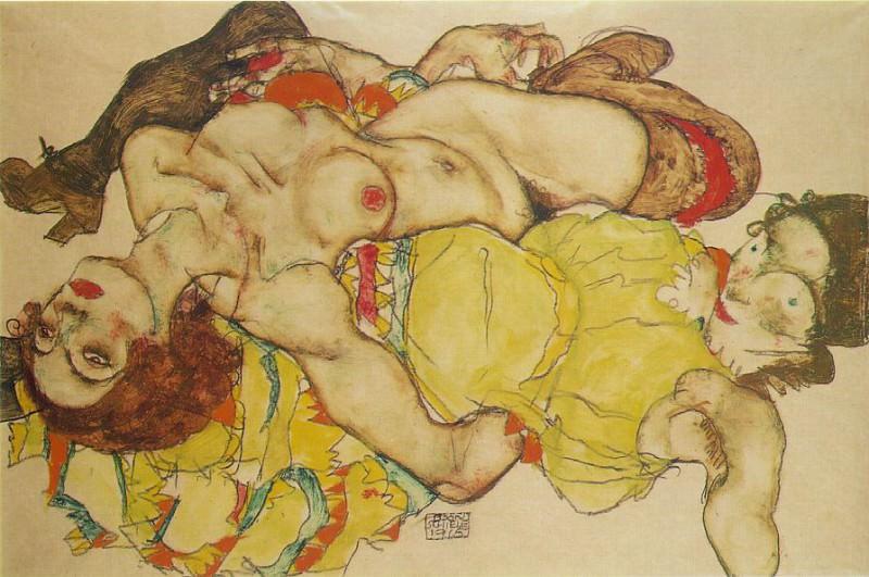 Schiele Two women, 1915, Graphische Sammlung Albertina, Vien. Эгон Шиле