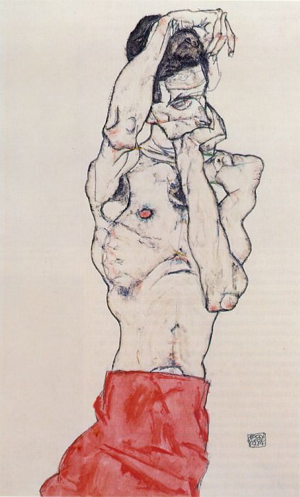 Schiele Standing Male Nude with Red Loincloth, 1914, Graphis. Egon Schiele