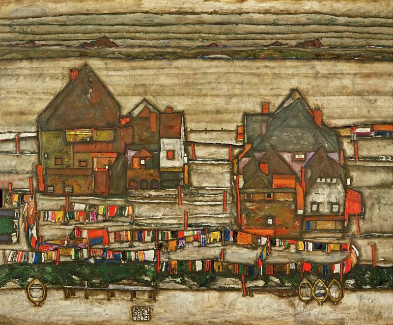"""Häuser mit bunter Wäsche,""""Vorstadt"""" II, 1914. Egon Schiele"""