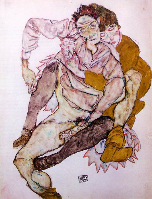 Schiele Seated Couple (Egon and Edith Schiele), 1915, 53.5x4. Egon Schiele