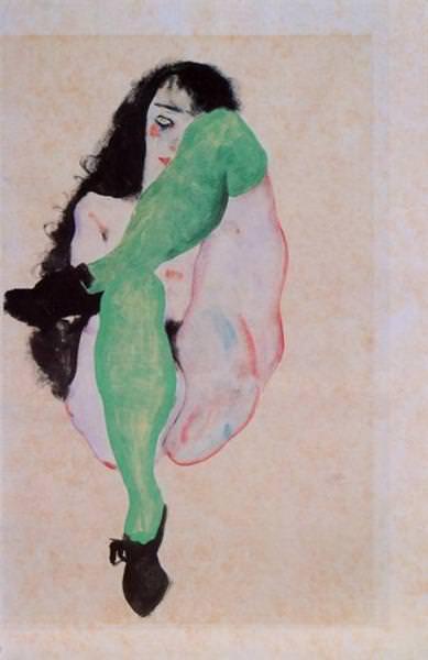 Ragazza con calzamaglia verde. Egon Schiele