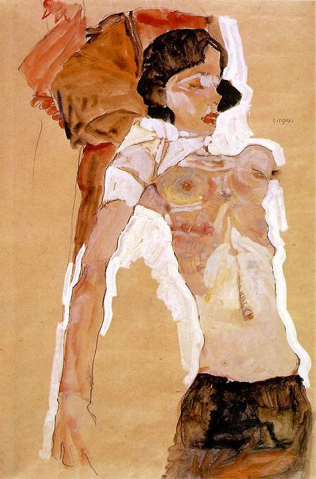 Schiele Semi-Nude Girl, Reclining, 1911, 45.9x31.1 cm,. Egon Schiele