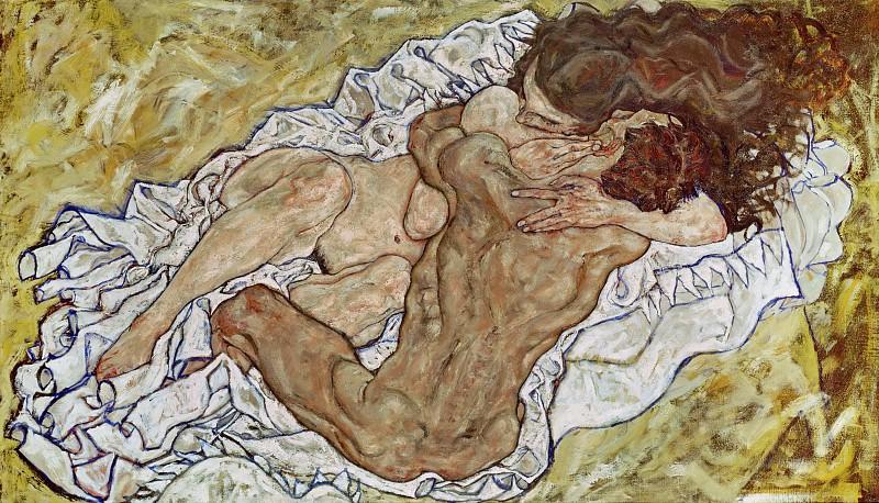 Schiele Embrace (Lovers II), 1917, 100x170.2 cm,. Эгон Шиле