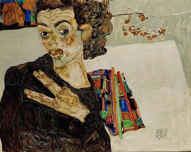 schiele.portrait-black-vase. Эгон Шиле