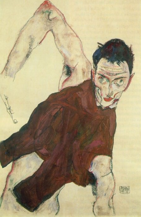 Schiele Self-Portrait with Raised Right Elbow, 1914, Private. Эгон Шиле