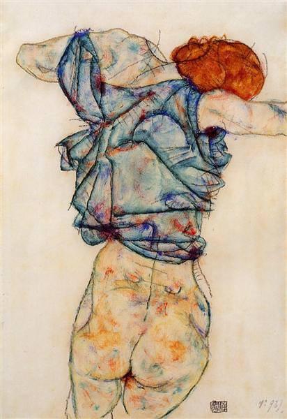 Donna Undressing. Egon Schiele