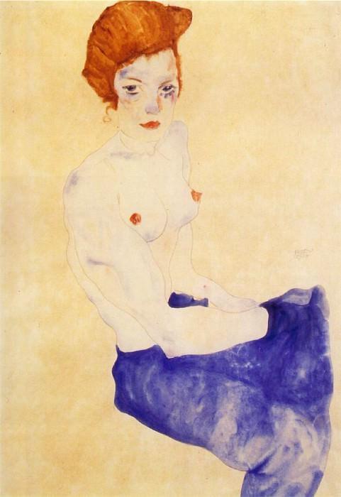 Schiele Seated girl, 1911, Haags Gemeentemuseum voor Moderne. Эгон Шиле