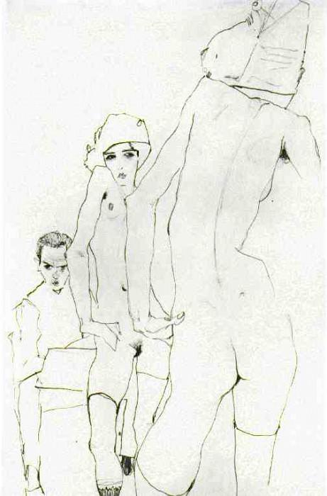 schiele.nude-mirror. Egon Schiele