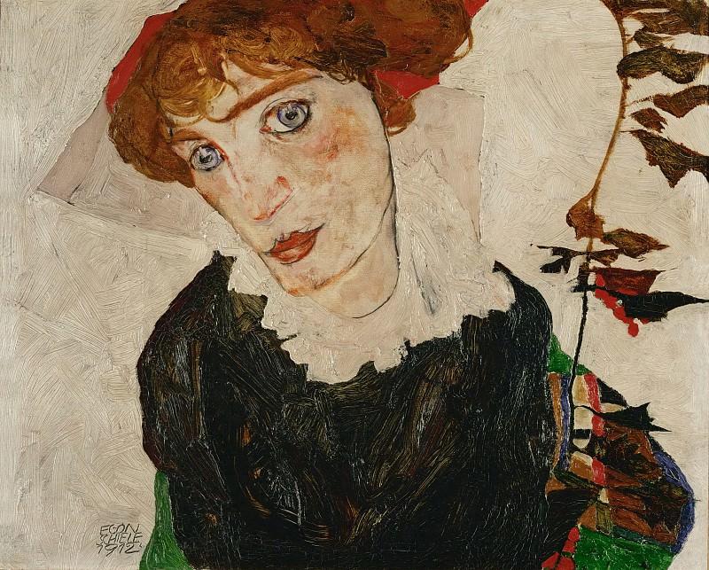 Egon Schiele Bildnis Wally 1912 Ol auf Holz 327 x 398 cm Leopold Museum Wien. Egon Schiele