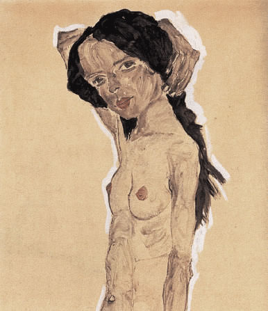 Female nude with black hair. Egon Schiele