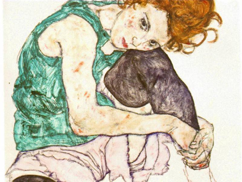 schiele.sitting-woman. Egon Schiele