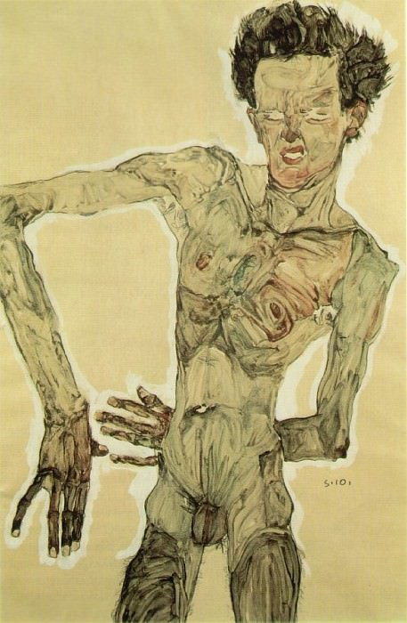 Schiele Self-portrait standing, 1910, Graphische Sammlung Al. Egon Schiele
