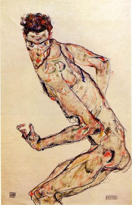 Schiele Fighter, 1913, 48.8x32.2 cm,. Egon Schiele