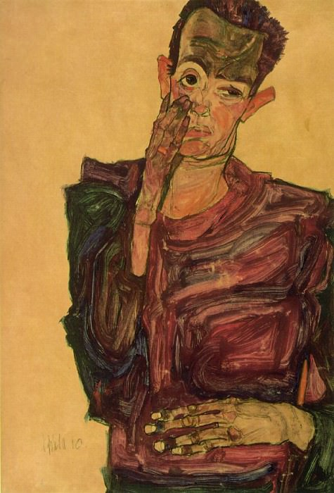 Schiele Self-portrait pulling cheek, 1910, Graphische Sammlu. Egon Schiele