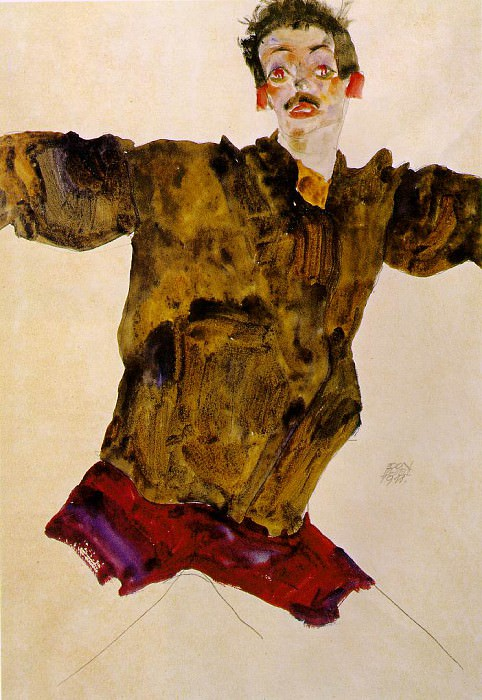Schiele Self-portrait with outstretched hands, 1911, Graphis. Egon Schiele