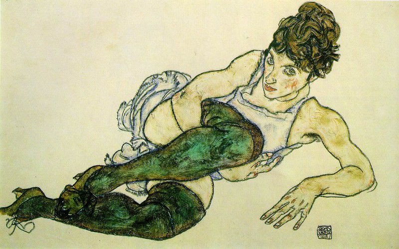 Schiele Reclining Woman with Green Stockings, 1917, 29.4x46. Эгон Шиле
