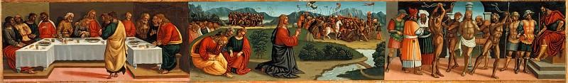 Мадонна с Младенцем, Святая Троица, архангелы и святые, пределла - Тайная вечеря, Моление о Чаше, Бичевание Христа. Лука Синьорелли