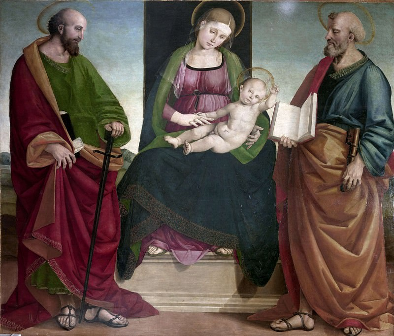 Madonna with child and Saints Peter and Paul. Luca Signorelli