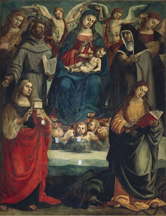 Virgin and Child with Saints Francis, Chiara, Margaret, Mary Magdalene, and Four Angels. Luca Signorelli