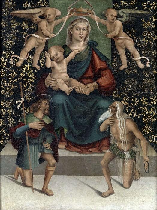 Мадонна на троне со святыми Онуфрием и Рохом. Лука Синьорелли