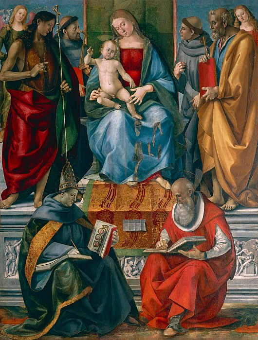Madonna and Child with John the Baptist, Francis of Assisi, Anthony of Padua, Joseph Bonaventure and Jerome. Luca Signorelli