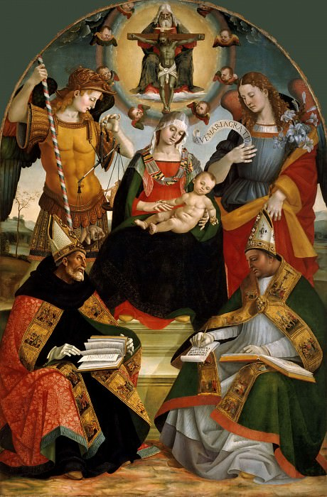 Mary with Child and the Trinity, Archangels Michael and Gabriel and Saints Augustine and Athanasius. Luca Signorelli