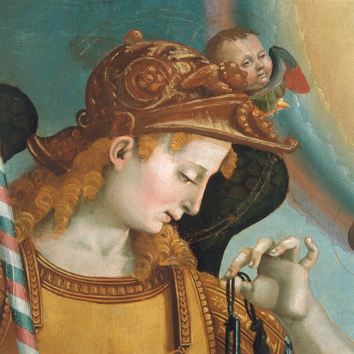 Mary with Child and the Trinity, Archangels and Saints, detail. Luca Signorelli