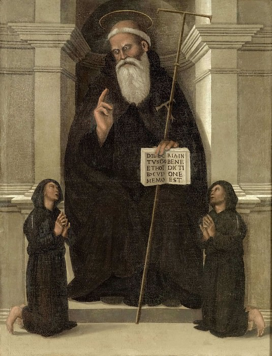 Anthony the Great with two praying monks. Luca Signorelli